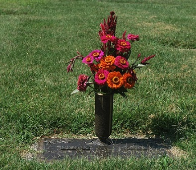 flowers on grave